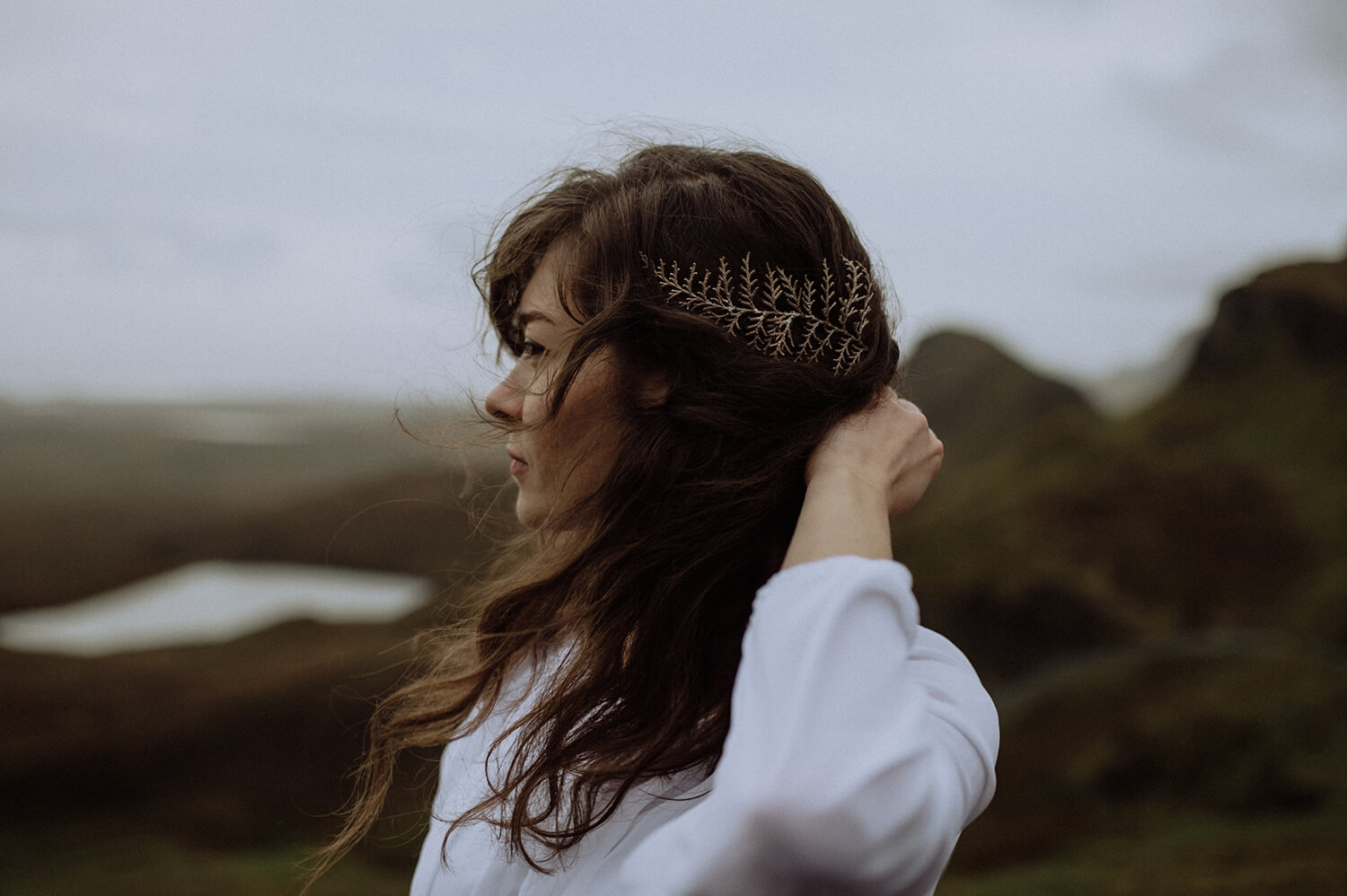 Portrait of a bride in the Scottish Highlands.
