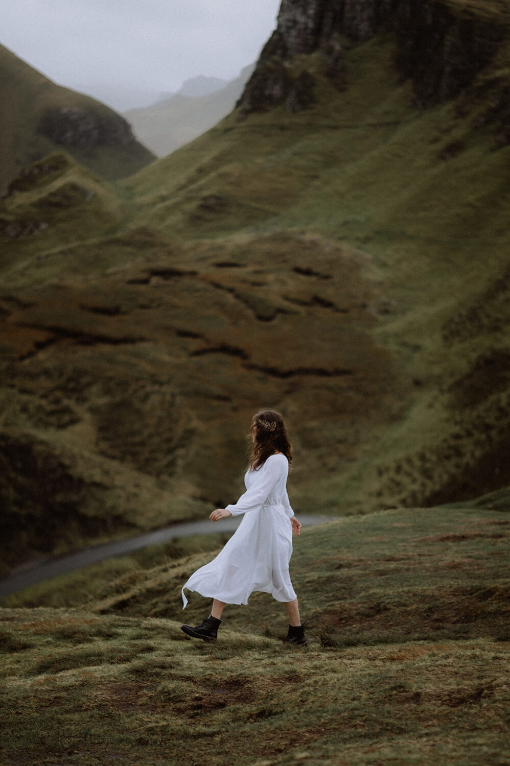 Walking through the Quiraing on the day of the elopement.