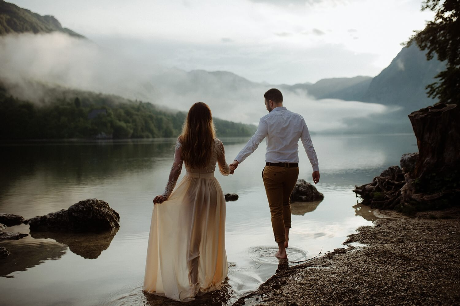Lake Bohinj engagement after summer storm.
